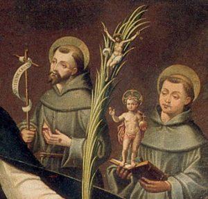 Dos frailes franciscanos se le aparecen camino de Toledo.