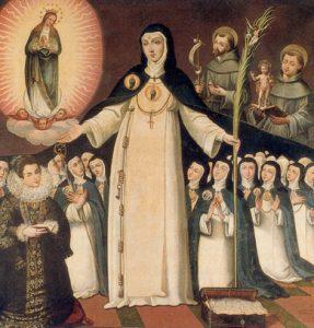 Santa Beatriz ampara bajo su manto a todas las religiosas